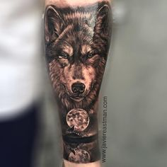 "184 Likes, 17 Comments - Javier Eastman (@javiereastman) on Instagram: ""First session on his sleeve! Thanks Dylan!! #javiereastman #javiereastmantattoo #wolf #moon…"""
