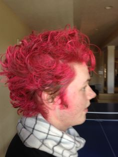 So I have a friend that works on the newspaper for school, and asked to be made up as an anime character for the next edition. He wanted spiked hair and dyed HOT PINK. I gotta say this was sooo much fun