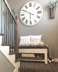 """stairs, farmhouse, rustic, modern, home decor, diy decor, entry way, pillows, bench, flowers, rustic pot, silver, gold, grays, rug, stairs, style, home decor, Roman 13"""" Wall Clock #afflink"""