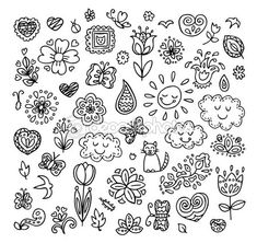 Spring doodles set. Hand draw flowers, sun, clouds, butterflies. Season of the blossom, illustration, cute background. — Stock Illustration #66820889