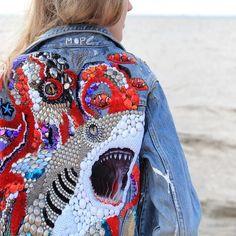 "Items similar to Denim jacket hand embroidery ""Sea"" CUSTOM jacket shark octopus exclusive Denim Jacket studded Denim Jacket designer print Handmade jacket on Etsy Studded Denim Jacket, Embroidered Denim Jacket, Beaded Jacket, Mode Jeans, Diy Clothes, Diy Fashion, Hand Embroidery, Print Design, Textiles"