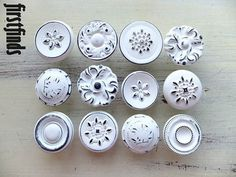 12 LARGE Misfit Knobs Shabby Chic White Kitchen by Firstfinds, $72.00