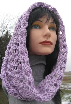 Knit Cowl, Infinity Scarf, Lilac Wool Cowl for Woman, Circle Scarf by NorthStarAlpacas on Etsy
