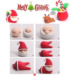 How to make Christmas decorations with Fimo dough - Dekoration Christmas Cake Decorations, Fondant Decorations, Christmas Cupcakes, Christmas Crafts, Father Christmas, Merry Christmas, Christmas Thoughts, Fondant Figures, Decors Pate A Sucre