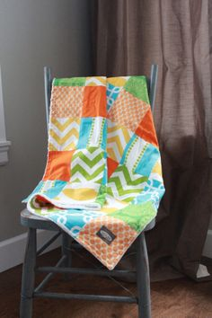 Baby Blanket - Patchwork Baby Quilt - Orange, Lime Green and Aqua Blue baby blanket-- yummy colors and prints!!