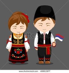 Serbs in national dress with a flag. Man and woman in traditional costume. Travel to Serbia. Costumes Around The World, World Thinking Day, Man Vector, Vintage Paper Dolls, Basket Decoration, Cool Countries, Wooden Dolls, People Of The World, Vintage Cards