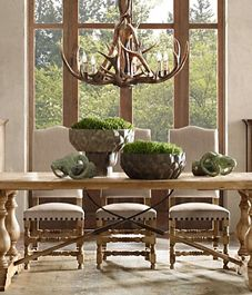 Adirondack Antler Chandelier in rustic charming dinning room Rustic French Country, Country Farmhouse Decor, Rustic Decor, French Farmhouse, Rustic Table, Farmhouse Table, Rustic Kitchen, Country Style, Dining Room Lighting