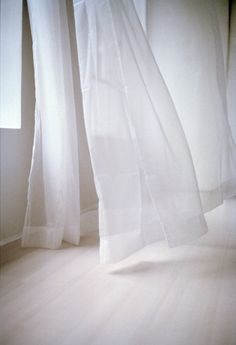 """white curtains, the idea of coolness. From the originators post: """"Sigh. I want my bedroom to feel light and airy like this. Like sleeping in a cloud"""" All White, Pure White, White Light, White Now, Black White, Corporate Design, White Curtains, Shades Of White, White Space"""