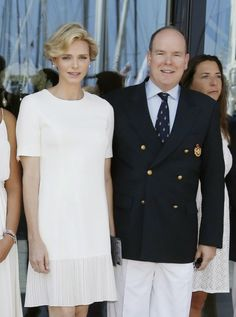 MYROYALS &HOLLYWOOD FASHİON-Monaco's Royal Family attended the inaguration of the new Yacht Club of Monaco, June 20, 2014-Princess Charlene and Prince Albert