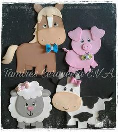 Noticias Kids Crafts, Foam Crafts, Diy And Crafts, Paper Crafts, Farm Animal Party, Farm Party, Animal Cutouts, Little Blue Trucks, Animal Cupcakes