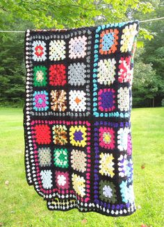 Vintage colorful granny squares crochet blanket afghan throw by indiecreativ, $60.00