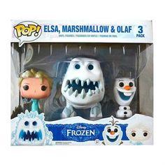 Frozen-Funko-POP-Disney-Frozen-Fever-Elsa-Olaf-Marshmallow-6-3-Pack-NEW-MIP
