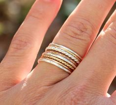 Set of 8 Tri Color Stacking Rings - Sterling Silver, 14K Rose Gold Filled, and - 11 Main