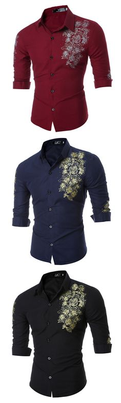 Long Sleeve Printing Shirt for Men: Slim Fit / Formal Casual /Turn Down Collar Dress