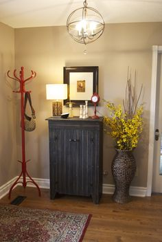 Perfect Greige by Sherwin Williams - paint color....love the color, but i am so doing my little cabinet like this