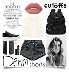 """Sans titre #1049"" by kawtar-el ❤ liked on Polyvore featuring Sherpani, Gwyneth Shoes, Levi's, Lime Crime, NARS Cosmetics, jeanshorts, denimshorts and cutoffs"