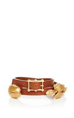 Shop Light Cuir Vitello Scarab And Gryphon Wrap Bracelet by Valentino for Preorder on Moda Operandi