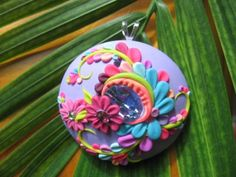 Purple Haze Floral Polymer Clay Pendant by Dimatsu on Etsy, $53.00