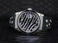 """18K White Gold Rolex DateJust Ref 116199 """"Zebra"""" #Rolex #Luxury Rolex Watches For Sale, Ebay Watches, Gold Rolex, Black Sapphire, Rolex Datejust, Black Rubber, White Gold, Luxury, Diamond"""
