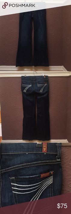 7 for all mankind dojo jeans!! Amazing condition! Warn only once. You will love the comfort and feeling of these jeans. Killer value for barely used jeans. 7 For All Mankind Jeans Boot Cut