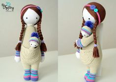 Crochet doll with baby, hair in braids and head accessory / Improvisation of Lalylala pattern / Crochet toy for toddler/child /