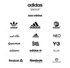 The analysis of the current Adidas brand design, re-thinking the brand marketing and giving a different perspective and a minimal brand design strategy to the brand. Typography Logo, Logo Branding, Endorsed Brand, Reebok, T Shirt Label, Popular Logos, Brand Architecture, Adidas Brand, Design Strategy