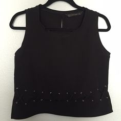 Zara Black Blouse *NEVER WORN* Black. Criss cross detail. Very comfortable. Great to wear at any event. Classy and sexy. Zara size M. Zara Tops Blouses