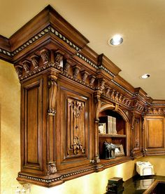 Decorative mouldings and architectural ornamentation by Pearlworks. Resin casted trims and flexible molding for interior and exterior design and construction, fine architectural wood carvings. Rustic Kitchen Design, Luxury Kitchen Design, Dream Home Design, Wooden Kitchen, Luxury Kitchens, Home Interior Design, Kitchen Cabinet Styles, Kitchen Cabinetry, Wooden Door Design