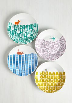 Earth the Wait Plate Set. After searching the sea and sky for decor as charming as this colorful plate set, youve found it at long last! #multi #modcloth