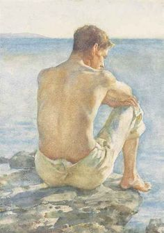 blastedheath:  Henry Scott Tuke (English, 1858-1929), Watching the sea, c.1923. Pencil and watercolour on paper, 14 x 10 in.
