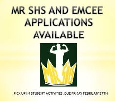Who will be crowned the next Mr. SHS? Do you want to Emcee the event? Apply online at http://www.d125.org/students/clubs-and-activities/student-activities-events/mr-shs or get a packet from Student Activities. Applications are due Feb. 27.