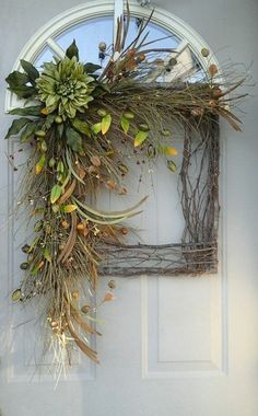Fall before the Finally of color /// Fall Grapevine square wreath Wild Sage Beauty. by bndd Twig Wreath, Diy Fall Wreath, Wreath Crafts, Summer Wreath, Holiday Wreaths, Christmas Decorations, Wreath Ideas, Fall Diy, Door Wreaths
