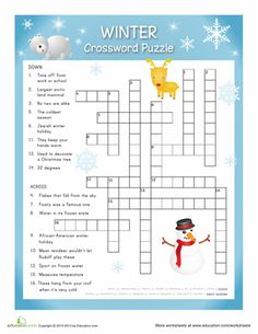 Puzzle, Winter Crosswords, Winter Crafts For 5Th Graders, Winter ...