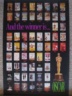 """VERY HARD TO FIND OSCAR WINNERS MOVIE POSTER, 1927-1985, 24"""" X 36"""""""