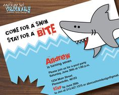 Shark Bite Birthday Invitation DIY Pool Party by ABOcustomDesign, $12.00