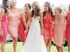 The Secrets of Successful Mismatched Bridesmaids 3.0 ~ Option No. 1: Same Color, Different Shades, Different Styles.