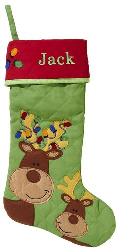 Spirit Kids Quilted Reindeer Stocking
