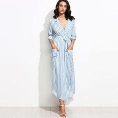 Pin Striped Casual Pocket Maxi Dress