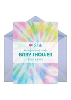 """Make guests feel groovy at a """"Peace & Love"""" themed baby shower and create custom invites to have everyone breaking out the tie-dye.        Send This Invitation: http://www.punchbowl.com/p/peace-love"""