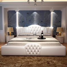Buy 1.5 or 1.8m bed leather home soft leather bed for bedroom set #CE-097