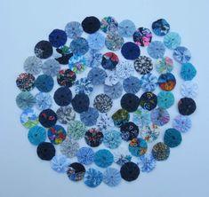 Blue yo yo garland, yoyo bunting, nursery garland, decorative banner, blue decoration, blue ornament, fabric garland, blue swag, home decor by Rethreading on Etsy