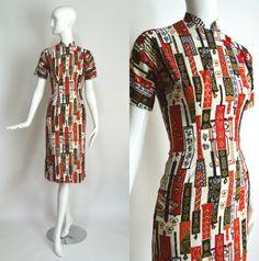40er 50er Jahre Vintage Baumwolle weiß rot von RubyFayesVintage