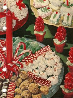Homemade Christmas Candy - remember my mom, grandma and aunts making dozens of trays to give to family and friends Vintage Christmas Party, Christmas Sweets, Retro Christmas, Christmas Goodies, Vintage Holiday, Christmas Baking, Christmas Holidays, Christmas Crafts, Christmas Decorations