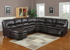 NICOLE Designed with style and comfort in mind, the Nicole sectional is the perfect seating solution for large families and living areas. Smooth espresso reconstituted leather covers the plush cushioning of a left arm facing chaise, armless loveseat, corner wedge, an armless recliner, storage console, and right facing arm reclining chair. All this room will ensure that no one is left out when it's time to entertain!