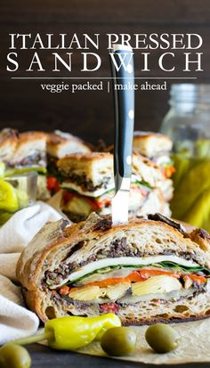 A fabulous, vegetarian sandwich for picnicking, lunch or on the go. Italian Pressed Sandwich is easy to make and feeds a small crowd! Layered with loads of flavorful veggies and a briny olive tapenade, this recipe is vegetarian or easily vegan. Autumn Recipes Vegetarian, Healthy Eating Recipes, Veggie Recipes, Healthy Eats, Grilled Burger Recipes, Best Burger Recipe, Sandwich Recipes, Best Vegetarian Sandwiches, Vegan Sandwiches