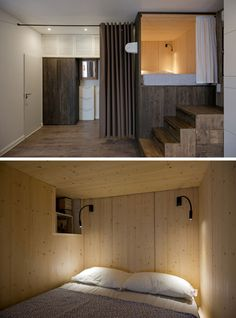 In this dark-stained pine raised bedroom, instead of having a bedside table, there's a small open shelf built into the box that surrounds the bed.