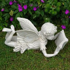 Images of angels reading books fairy laying down reading a book garden ornament tats - Reading fairy garden statue ...
