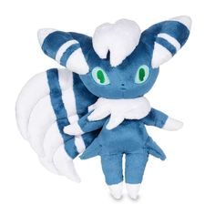 Official Meowstic Male Poké Plush. Over 17 inches tall. Triple-cool tail and dark striped fur, detailed paws and eyes.