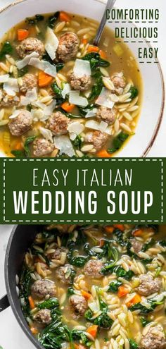 Crockpot Italian Wedding Soup, Italian Soup Recipes, Easy Soup Recipes, Beef Recipes, Cooking Recipes, Wedding Soup Meatball Recipe, Easy Healthy Soup Recipes, Italian Vegetable Soup, Easy Homemade Soups