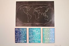 | Oceans by Hillsong United | Painted lyric series on canvas | World Map Wall Art |